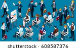 people isometric 3d  the big... | Shutterstock . vector #608587376