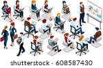 people isometric 3d  the big... | Shutterstock . vector #608587430