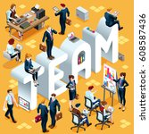 people isometric 3d  the big... | Shutterstock . vector #608587436
