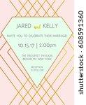 modern wedding invitation.... | Shutterstock .eps vector #608591360