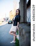 outdoor fashion spring portrait ... | Shutterstock . vector #608603639