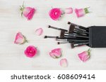 fashion cosmetic makeup with... | Shutterstock . vector #608609414