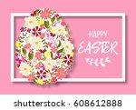 happy easter lettering. easter... | Shutterstock .eps vector #608612888