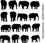 asian elephant silhouette...   Shutterstock .eps vector #608614043