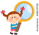 child holding a magnifying glass   Shutterstock .eps vector #608619938