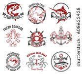 set of the seafood labels...   Shutterstock .eps vector #608622428