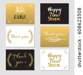 set of 6 cards with lettering.  ... | Shutterstock . vector #608623508