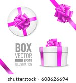 white round gift box with shiny ... | Shutterstock .eps vector #608626694
