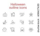 halloween outline icons | Shutterstock .eps vector #608627630