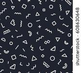memphis seamless pattern... | Shutterstock .eps vector #608630648