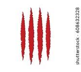 animal red monster claw... | Shutterstock .eps vector #608632328