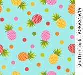 colorful pineapple and dot... | Shutterstock .eps vector #608635619