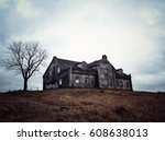 a haunted house in belarus | Shutterstock . vector #608638013