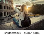 woman tourist selfie with phone ... | Shutterstock . vector #608644388