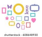 set of cartoon picture frames... | Shutterstock .eps vector #608648930