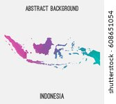 indonesia map in geometric... | Shutterstock .eps vector #608651054