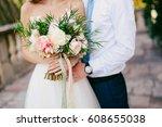wedding bouquet of peonies in... | Shutterstock . vector #608655038