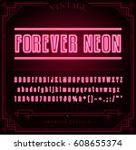 bright neon alphabet letters ... | Shutterstock .eps vector #608655374
