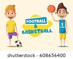 little basketball and football... | Shutterstock .eps vector #608656400