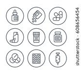 medicaments line icons in... | Shutterstock .eps vector #608656454