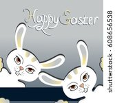 two vector white easter bunny... | Shutterstock .eps vector #608656538