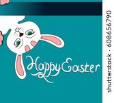 vector white easter bunny on a... | Shutterstock .eps vector #608656790
