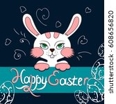 colorful happy easter greeting... | Shutterstock .eps vector #608656820