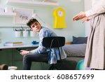 mother argue with her teenage... | Shutterstock . vector #608657699