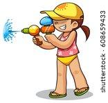kid playing water gun vector... | Shutterstock .eps vector #608659433