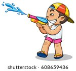 kid playing water gun vector... | Shutterstock .eps vector #608659436