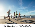 group of athletes running on... | Shutterstock . vector #608661686