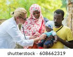 female caucasian doctor... | Shutterstock . vector #608662319