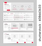 website template elements with... | Shutterstock .eps vector #608663633