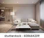 modern beige gray living room... | Shutterstock . vector #608664209