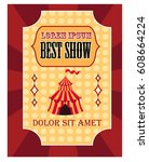 circus poster with tent | Shutterstock .eps vector #608664224