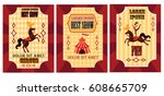 funny circus poster set. poster ... | Shutterstock .eps vector #608665709