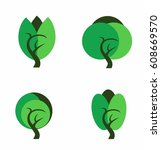 trees icons set | Shutterstock .eps vector #608669570