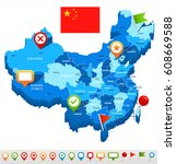china map and flag   highly... | Shutterstock .eps vector #608669588