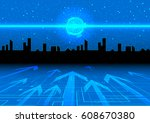 future technology vector... | Shutterstock .eps vector #608670380