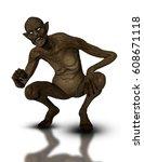 3d render of a crouching... | Shutterstock . vector #608671118