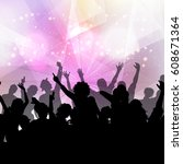 silhouette of a party crowd on...   Shutterstock .eps vector #608671364