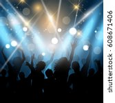 silhouettes of party people on... | Shutterstock .eps vector #608671406