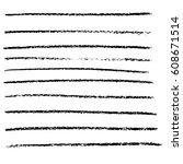vector chalked handmade lines.... | Shutterstock .eps vector #608671514