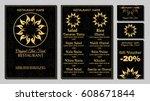 vector thai food restaurant... | Shutterstock .eps vector #608671844