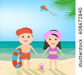 summer beach holiday. boy and... | Shutterstock .eps vector #608672840