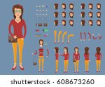 creation set of hipster woman... | Shutterstock .eps vector #608673260