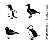 seabirds vector icons | Shutterstock .eps vector #608674130