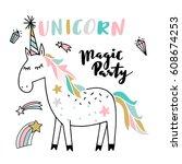 unicorn illustration | Shutterstock .eps vector #608674253