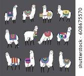 lama animal vector color set | Shutterstock .eps vector #608675570