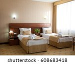 comfortable bedroom with two... | Shutterstock . vector #608683418